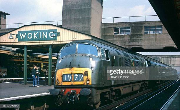 CONTENT] At this time Warships were being used on the express services from Waterloo Here is D815 Druid of Laira Shed at Woking