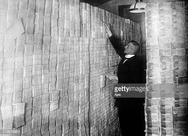 At time of hyperinflation in Germany 20's banknotes in a bank in Berlin