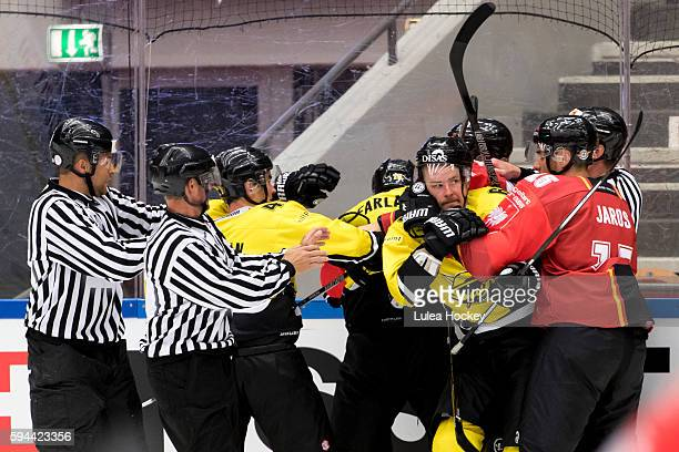 At times hot emotions and brawl during the Champions Hockey League match between Lulea Hockey and SaiPa Lappeenranta at Coop Norrbotten Arena on...