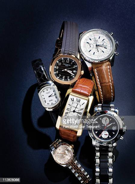 At top left Patek Philippe's rosegold Aquanaut timepiece with a chocolate brown dial and strap angles into a classic gold Cartier tank At top right a...