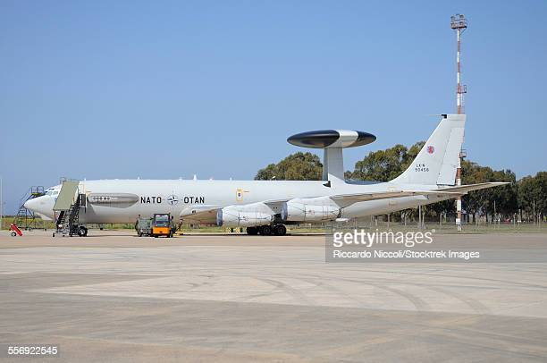 NATO E-3A AWACS at Trapani Airbase, Sicily, during Operation Unified Protector.