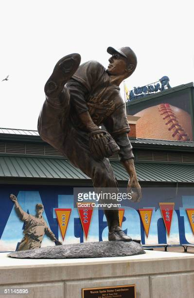 At Turner Field, a statue at honors pitcher Warren Spahn and his career with the Braves, on July 26, 2004 in Atlanta, Georgia.