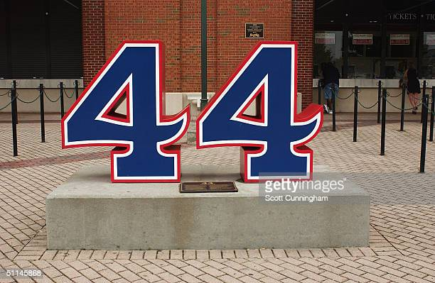 At Turner Field, a statue honors Hank Aaron and his career with the Braves on July 26, 2004 in Atlanta, Georgia.