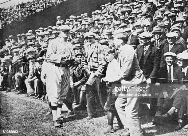 At Ty Cobb Day in Detroit in 1927 Cobb is welcomed back to Navin Field after being traded to the Philadelphia Athletics over the previous winter