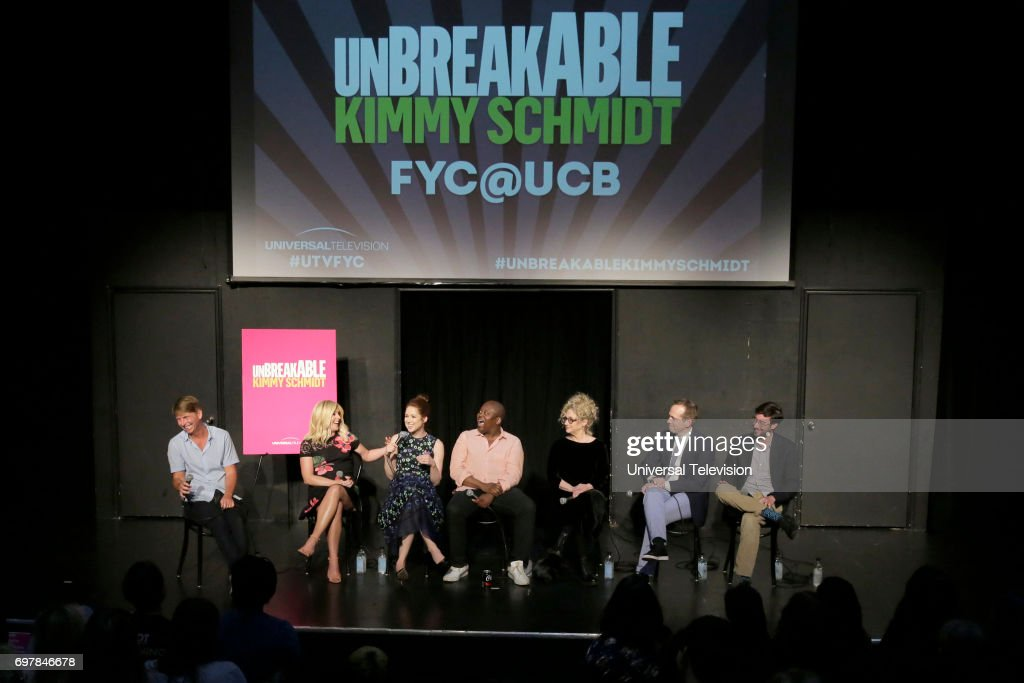 SCHMIDT -- 'FYC at UCB' -- Pictured: (l-r) Jack McBrayer, Moderator; Jane Krakowski, Ellie Kemper, Titus Burgess, Carol Kane, Robert Carlock, Executive Producer; Sam Means, Co-Executive Producer --