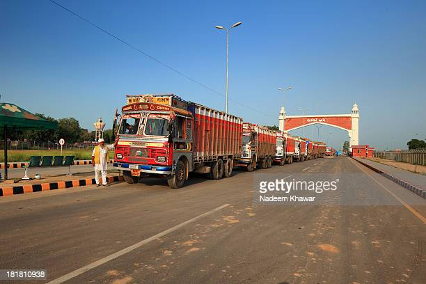 At Wahga Border,on trade gate, Indian truck are standing in ques and waiting to be offload the vegetables and other accessories they bring at Lahore...