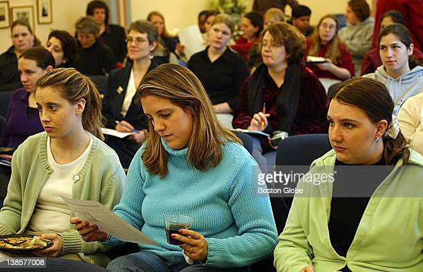 At Wheelock College students and teachers during a small luncheon prepare to listen to a talk given by Rita Kissen about sexual diversity in the...