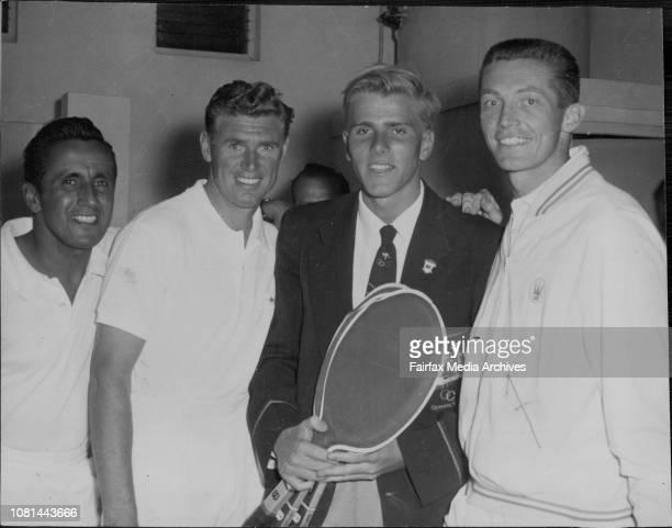 At white city on Saturday night Murray Rose went behind the scenes to meet LR Pancho Segura Frank Sedgman and Tony Trabert January 19 1957