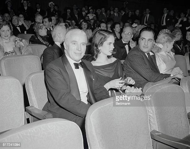 At World Premiere of His New Picture New York New York Veteran screen comedian Charles Chaplin and his attractive young wife the former Oona O'Neill...