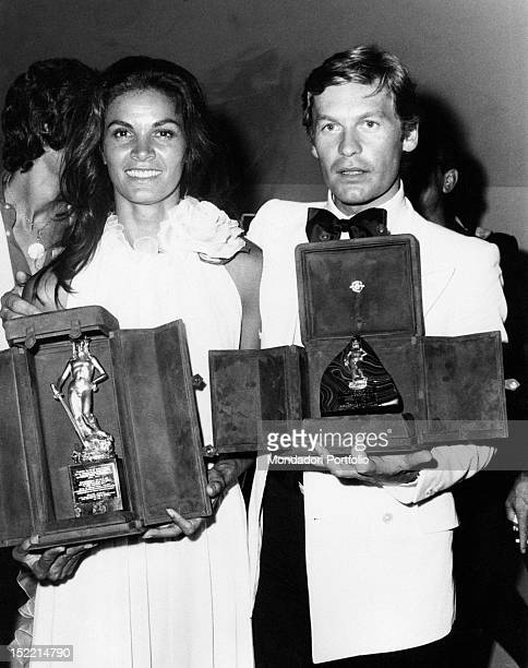 At XVIII David di Donatello Award Helmut Berger Special David winner and Florinda Bolkan best actress in a leading role winner for her performance in...