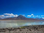 miniques lagoon volcano atacama desert chile