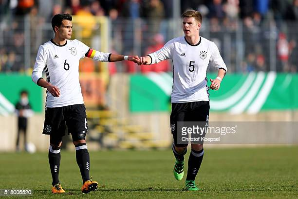 Atakan Akkaynak and Florian Baak of Germany interact during the U17 Euro Qualification match between Germany and Netherlands at Paul Janes Stadium on...