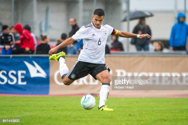 Atakan Akkaynak in action during the U20 international friendly match between U19 Switzerland and U19 Germany on August 31 2017 at Stade SaintLonard...