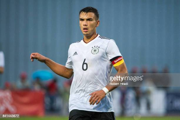Atakan Akkaynak looks on during the U20 international friendly match between U19 Switzerland and U19 Germany on August 31 2017 at Stade SaintLonard...