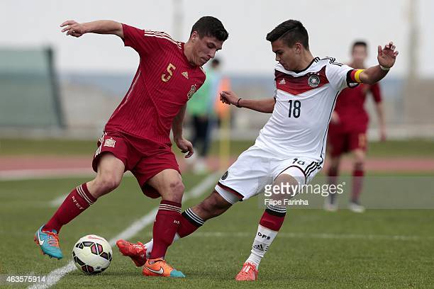 Atakan Akkaynak of Germany challenges Gorka Zabarte of Spain during the U16 UEFA development tournament match between Germany and Spain on February...