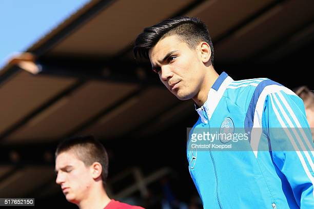 Atakan Akkaynak of Germany enters the pitch prior to the U17 Euro Qualification match between Germany and Bulgaria at Stadium Ratingen on March 26...