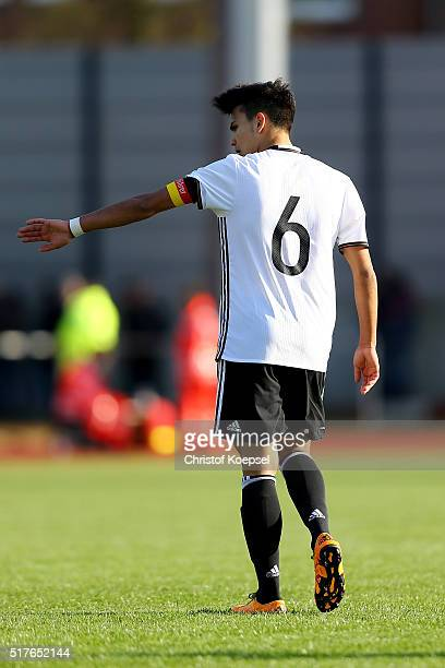 Atakan Akkaynak of Germany issues instructions during the U17 Euro Qualification match between Germany and Bulgaria at Stadium Ratingen on March 26...