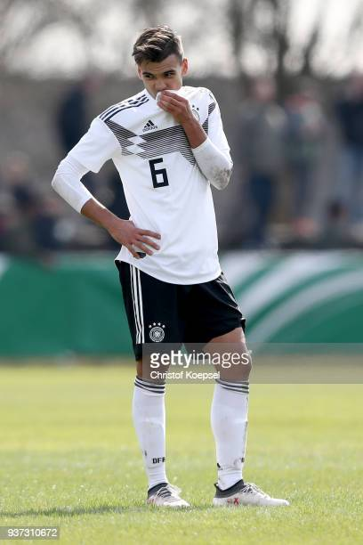 Atakan Akkaynak of Germany looks dejected after the UEFA Under19 European Championship Qualifier match between Germany and Norway at Stadion Grosse...