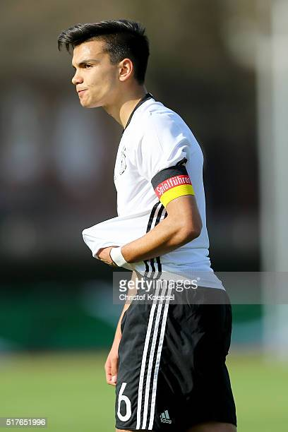 Atakan Akkaynak of Germany looks thoughtful during the U17 Euro Qualification match between Germany and Bulgaria at Stadium Ratingen on March 26 2016...