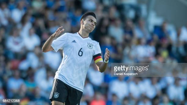 Atakan Akkaynak of Germany reacts during the U18 International Friendly match between Germany and Italy on May 17 2017 in Grossaspach Germany Atakan...