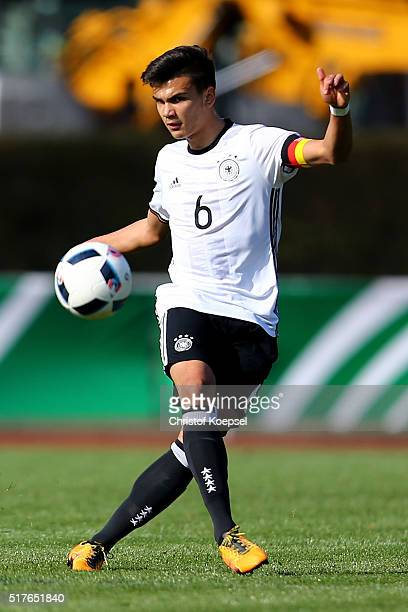 Atakan Akkaynak of Germany runs with the ball during the U17 Euro Qualification match between Germany and Bulgaria at Stadium Ratingen on March 26...