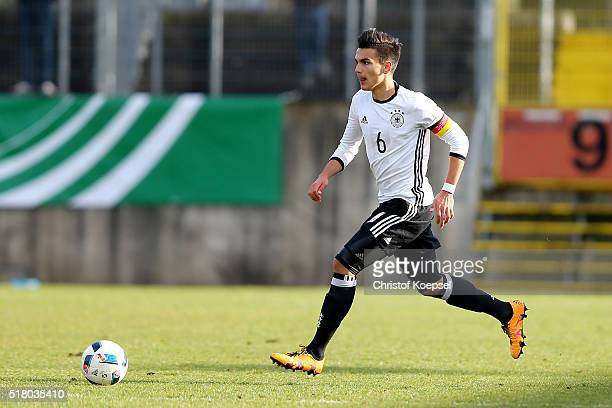 Atakan Akkaynak of Germany runs with the ball during the U17 Euro Qualification match between Germany and Netherlands at Paul Janes Stadium on March...