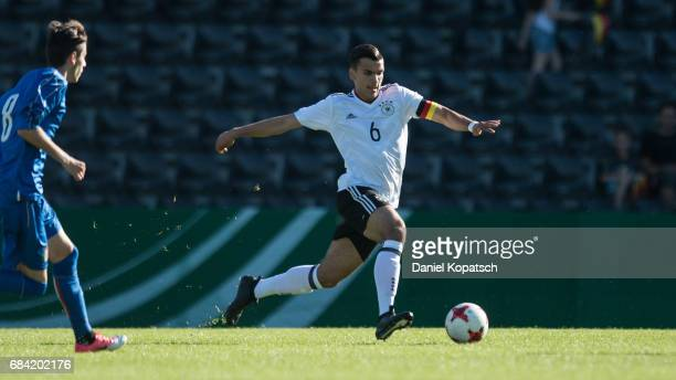 Atakan Akkaynak of Germany runs with the ball during the U18 International Friendly match between Germany and Italy on May 17 2017 in Grossaspach...