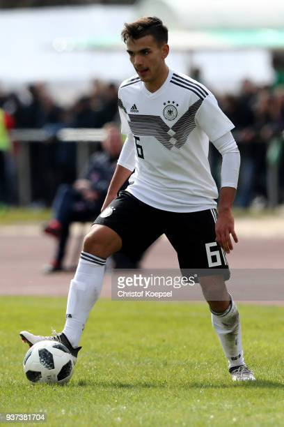 Atakan Akkaynak of Germany runs with the ball during the UEFA Under19 European Championship Qualifier match between Germany and Norway at Stadion...