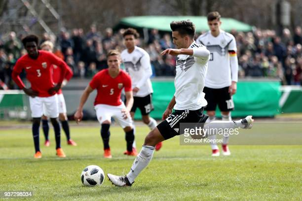 Atakan Akkaynak of Germany scores the second goal by penalty during the UEFA Under19 European Championship Qualifier match between Germany and Norway...