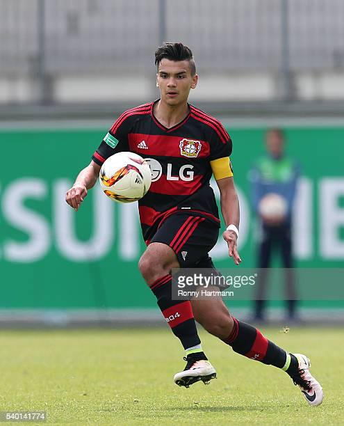 Atakan Akkaynak of Leverkusen runs with the ball during the U17 German Championship Semi Final Second Leg between VfL Wolfsburg U17 and Bayer 04...