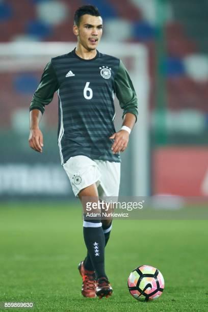 Atakan Akkaynak of U19 Germany controls the ball during soccer match U19 Poland v U19 Germany UEFA Under19 Euro Qualifier on October 10 2017 in...