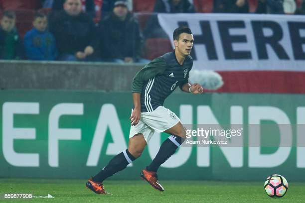 Atakan Akkaynak of U19 Germany controls the ball during soccer match U19 Poland v U19 Germany UEFA Under19 Euro Qualifier on October 10 2017 in...