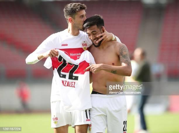 Atakan Karazor of VfB Stuttgart and Nicolas Gonzalez of VfB Stuttgart celebrate after winning 6-0 during the Second Bundesliga match between 1. FC...