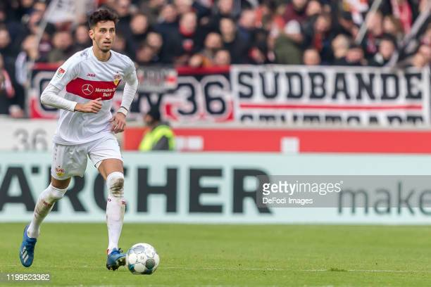Atakan Karazor of VfB Stuttgart controls the Ball during the Second Bundesliga match between VfB Stuttgart and FC Erzgebirge Aue at Mercedes-Benz...