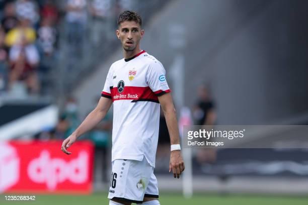 Atakan Karazor of VfB Stuttgart looks on during the Bundesliga match between Eintracht Frankfurt and VfB Stuttgart at Deutsche Bank Park on September...