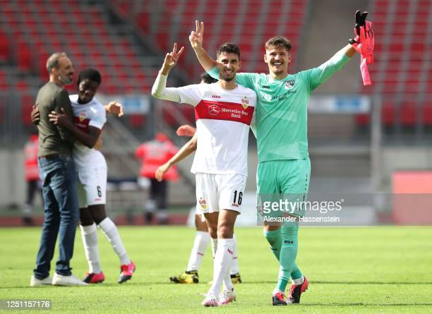 Atakan Karazor of VfB Stuttgart nd Gregor Kobel of VfB Stuttgart celebrate after winning 6-0 during the Second Bundesliga match between 1. FC...