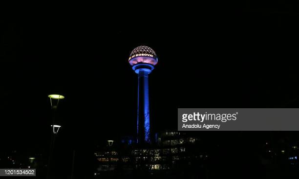Atakule is illuminated with the colors of Kosovo's flag on the12th anniversary of the independence of Kosovo in Ankara Turkey on February 17 2020