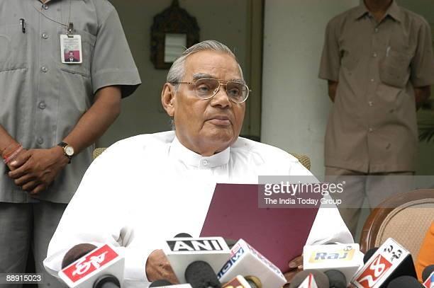 Atal Bihari Vajpayee former Prime Minister of India addressing the Media in New Delhi India