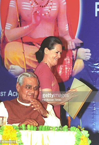 Atal Bihari Vajpayee Prime Minister Atal Bihari Vajpayee with congress president Sonia gandhi during the golden jubilee celebrations of Jayendra...