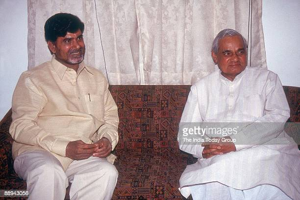 Atal Bihari Vajpayee with Alliance Partner N Chandrababu Naidu TDP from Andhra Pradesh