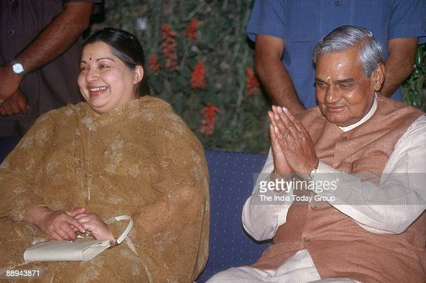 Atal Bihari Vajpayee with J Jayalalitha CM Tamil Nadu greeting well wishers
