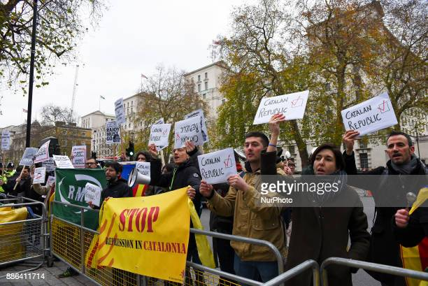 atalan protesters rally outside of Downing Street in London on December 5 2017 as Prime Minister of Spain Mariano Rajoy visits the city for talks...