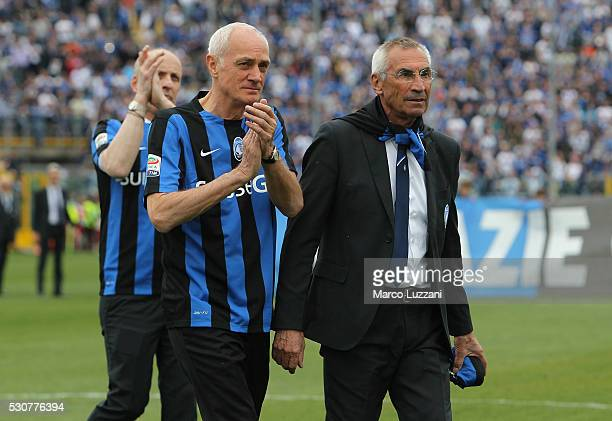 Atalanata BC President Antonio Percassi and Atalanta BC coach Edy Reja at the end of the Serie A match between Atalanta BC and Udinese Calcio at...