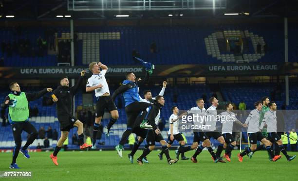 Atalanata players celbrate victory after the UEFA Europa League Group E football match between Everton and Atalanta at Goodison Park in Liverpool...