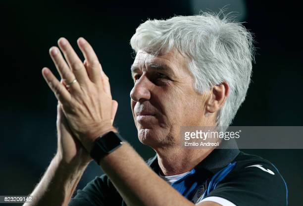 Atalanta BC coach Gian Piero Gasperini applauds the fans after victory at the end of the preseason friendly match between Atalanta BC and LOSC Lille...