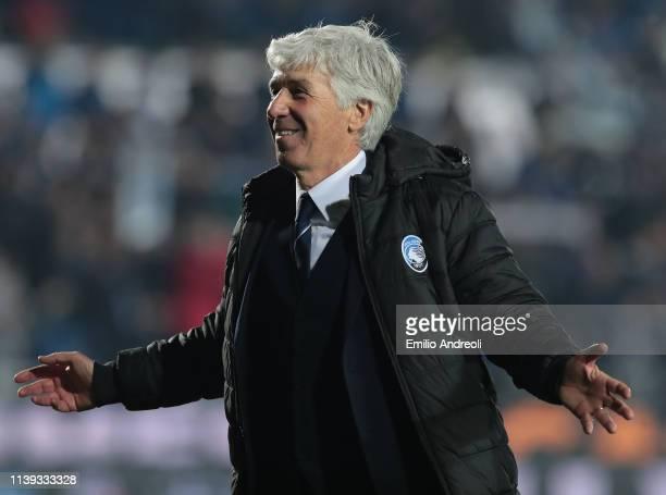 Atalanta BC coach Gian Piero Gasperini celebrates the victory at the end of the TIM Cup match between Atalanta BC and ACF Fiorentina at Stadio Atleti...