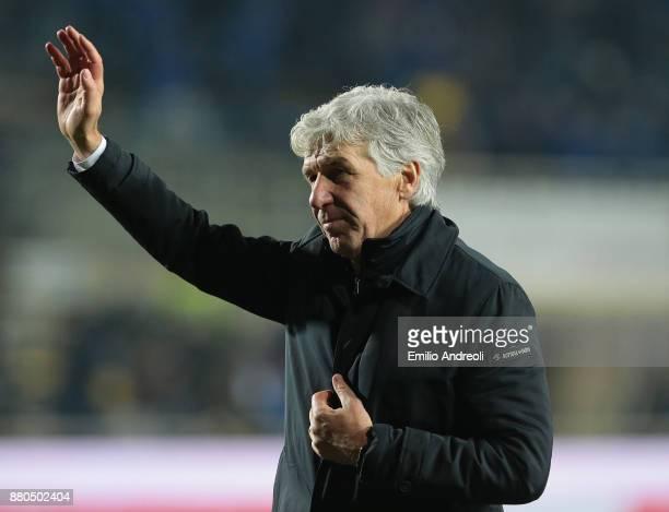 Atalanta BC coach Gian Piero Gasperini greets the fans at the end of the Serie A match between Atalanta BC and Benevento Calcio at Stadio Atleti...
