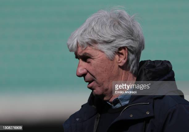 Atalanta BC coach Gian Piero Gasperini looks on at the end of the Serie A match between Hellas Verona FC and Atalanta BC at Stadio Marcantonio...