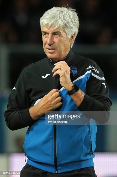 Atalanta BC coach Gian Piero Gasperini looks on before the serie A match between Atalanta BC and Cagliari at Stadio Atleti Azzurri d'Italia on...