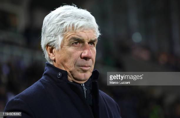 Atalanta BC coach Gian Piero Gasperini looks on before the Serie A match between Atalanta BC and SPAL at Gewiss Stadium on January 20, 2020 in...